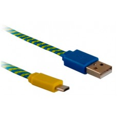 Дата-кабель BlackBox (UDC2003-flat) USB-microUSB blue/yellow flat braided